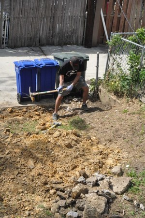 Hunter mattock to dig out dirt under concrete