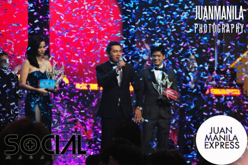 Confetti all over host Cesar Montano and TV 5 Artista Academy winners.