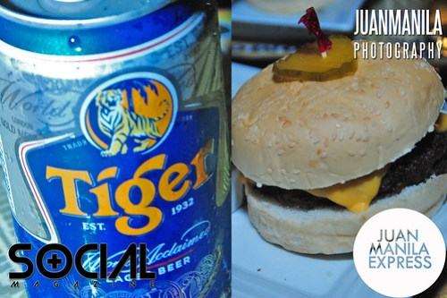 Tiger Lager Beer (left) and The Roadhouse Manila Bay Burger (right).