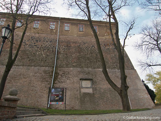 One of the many large walls around Spilberk Castle