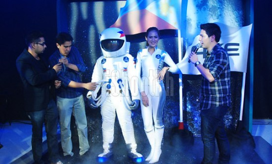 "Radio personalities Sam YG, Ramon Bautista and Gino Quillamor interviews AXE Philippines ""astronaut"" during the launch held at Whitespace bar in Makati, Thursday night."