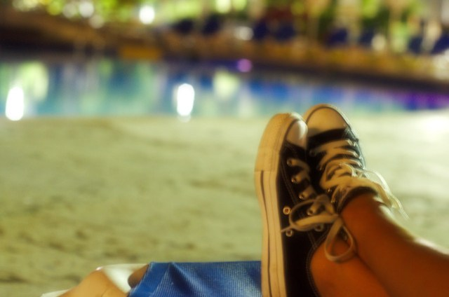 Relaxing converse at the poolside