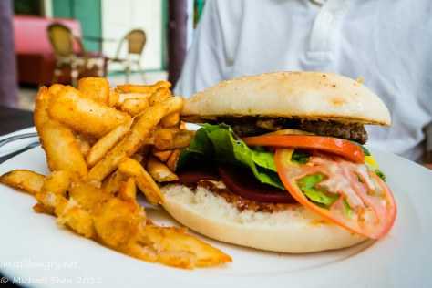 Weir Café - wagyu beef burger, beetroot, cucumber, tomato & lettuce with beer battered fries