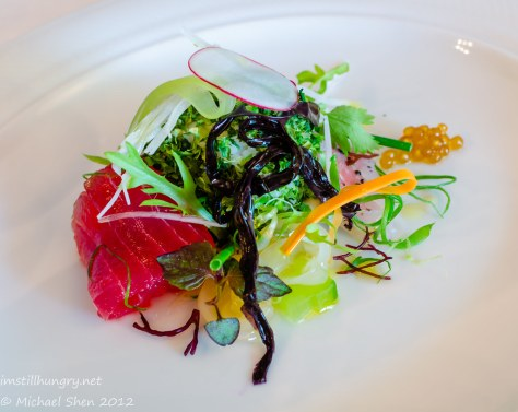 Tetsuya's - salad of the sea - akami, hiramasa, sushi rice, gelatine noodles & konbu