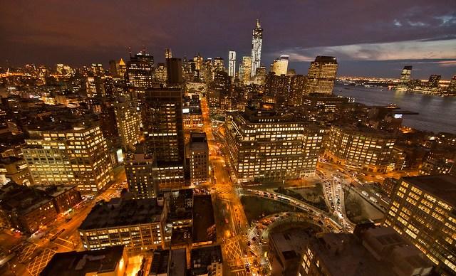 Lower Manhattan and One World Trade at Night