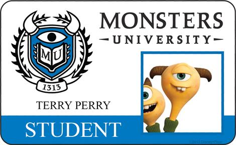 Monster University - Terry Perry ID