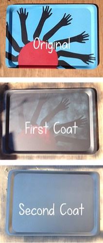 DIY Spray Painted Chalkboard Platter Steps