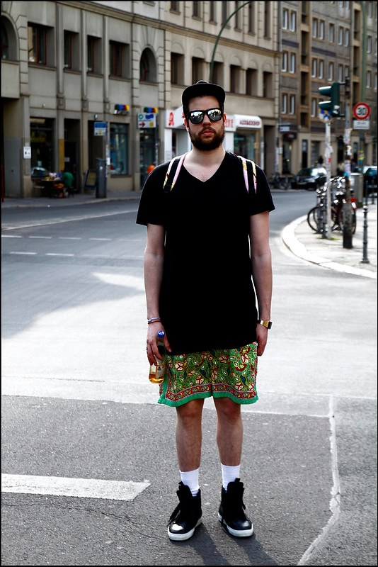 Tuukka13 - Greetings from Berlin - WDYWT - Kris Van Assche Sneakers and V Neck, Polo Ralph Lauren Paisley Shorts, Supreme Starter Cap, KTZ Backpack and Mirror Sunglasses - 1