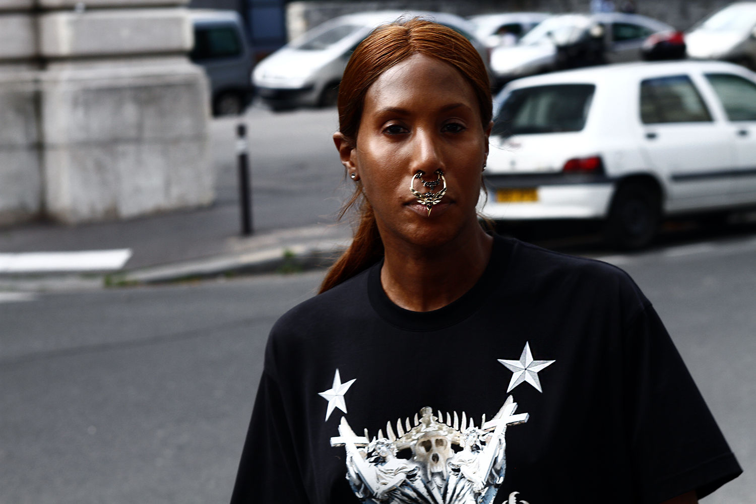 2012_06 Tuukka Laurila Paris Mens Fashion Week Street Style - Honey Dijon In Givenchy T-Shirt and with Givenchy SS 12 Nose Piercing2