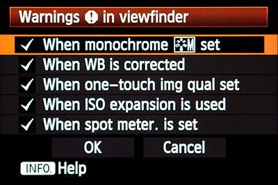 canon 5D mark III mk 3 viewfinder warning custom function setting