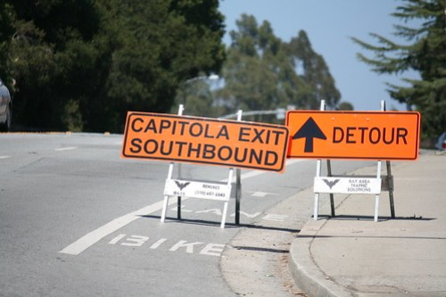 Detour sign in Bike Lane