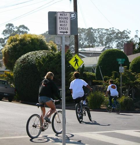 West Bound Bikes Must Cross
