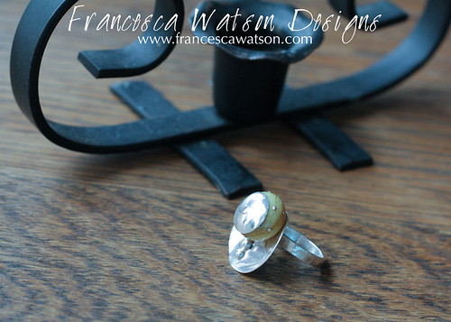 Yellow Bead Post Ring by Francesca Watson Designs