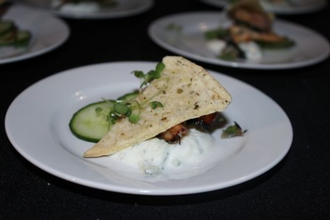 C Restaurant - honey lemon glazed octopus cuke salad and oregano cracker