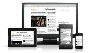 Boston Globe responsive website, featuring Apple Newton
