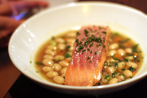 salmon with beans