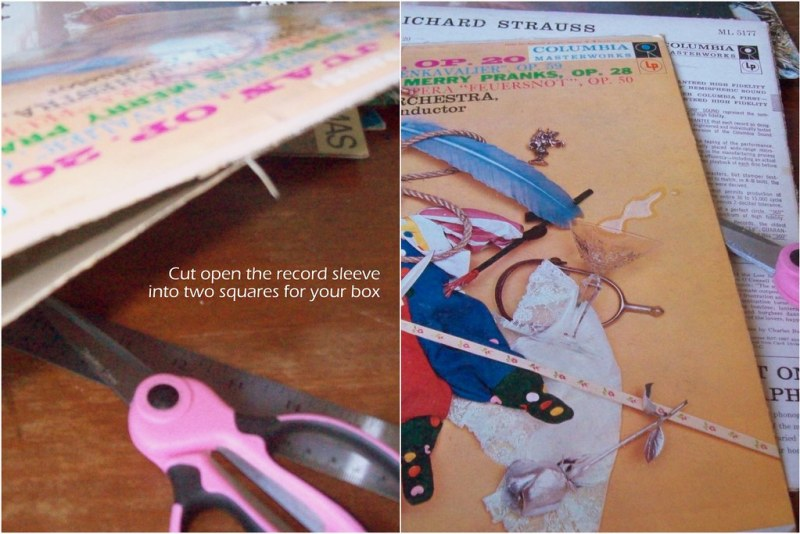 Cut open your record sleeves into 2 squares for top and bottom