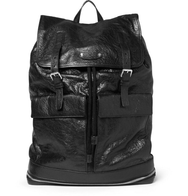 BALENCIAGA  TRAVELLER CREASED-LEATHER BACKPACK