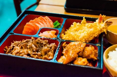 Kansai Set A (part 1) - tempura prawns, teriyaki chicken, teriyaki beef, salmon sashimi, miso soup, rice