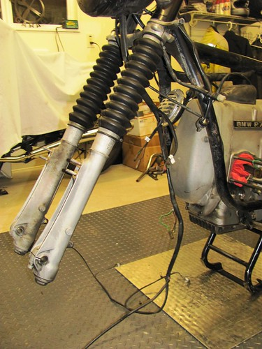 Front Forks with Wiring Harness Removed