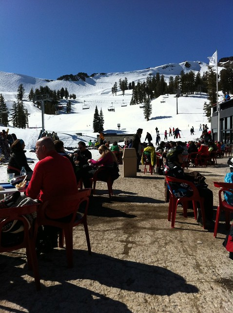 A break after Snowboarding Squaw Valley