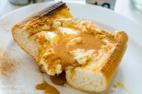 Lumiere Cafe - toasted baguette with ricotta, under the grill with honey & cinnamon