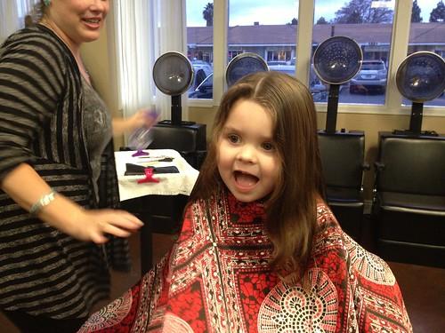 Annie's first haircut