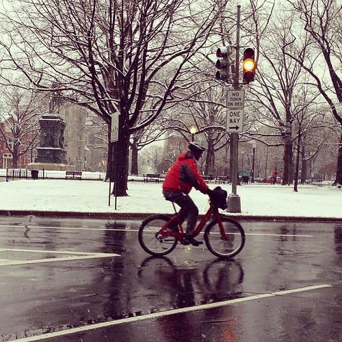 Caution, snow biker