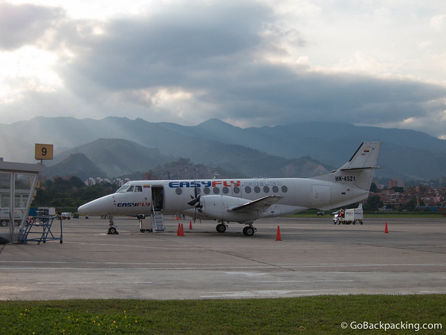 Easyfly plane at Aeropuerto Olaya Herrera in Medellin