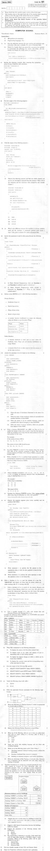 CBSE Class XII Previous Year Question Paper 2012: Computer Science
