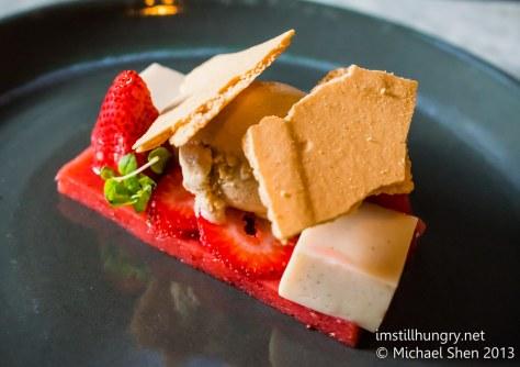 Ume strawberries & cream - strawberry jelly, vanilla tofu, ginger meringue, micro mint, vanilla ice cream