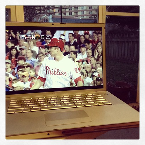 Perfect night to watch the Phillies from my back porch.