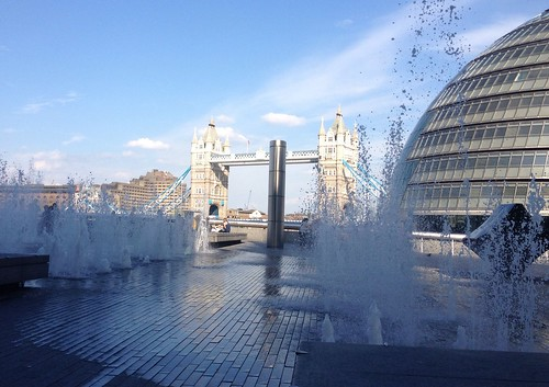 Tower Bridge through some water