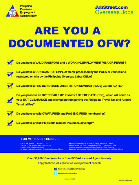 The banner above will help overseas workers to know more if they are a documented OFWs.