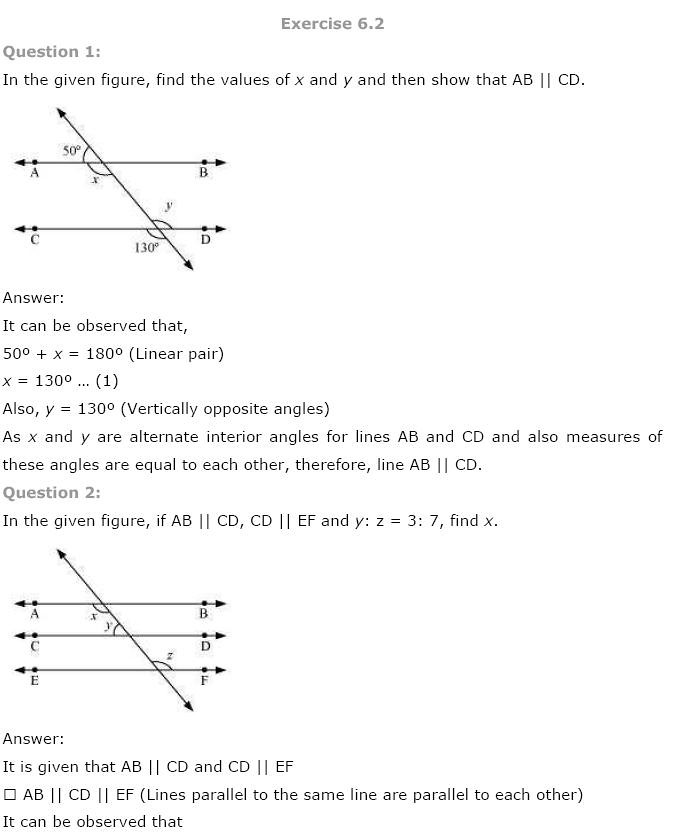 NCERT Solutions for Class 9th Maths Chapter 6 Lines and Angles