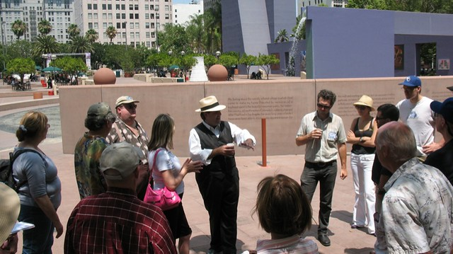 Richard Schave with tour guests in Pershing Square