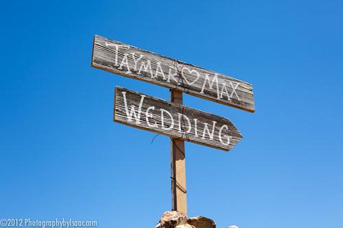 Sign to the wedding at Zaca Lake.