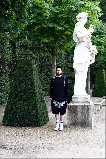 Tuukka13 - A Day in Versailles, Paris - 07.2012 - WDYWT - Rick Owens High Top Sneakers and Drop Crotch Shorts, Tuesday Night Band Practice Apron, Kris Van Assche VNeck, Alexander Wang Sweater, Kris Van Assche x Eastpak Backpack and Supreme Cap