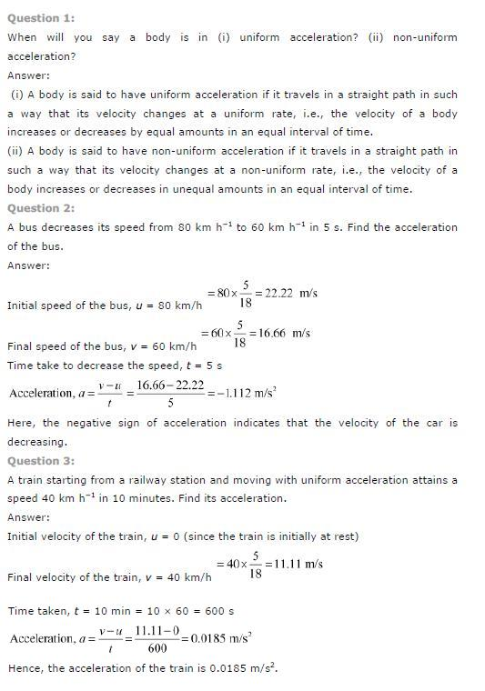 NCERT Solutions for Class 9th Science: Chapter 8 Motion Image by AglaSem