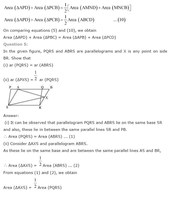 NCERT Solutions for Class 9th Maths: Chapter 9 Areas of Parallelograms and Triangles