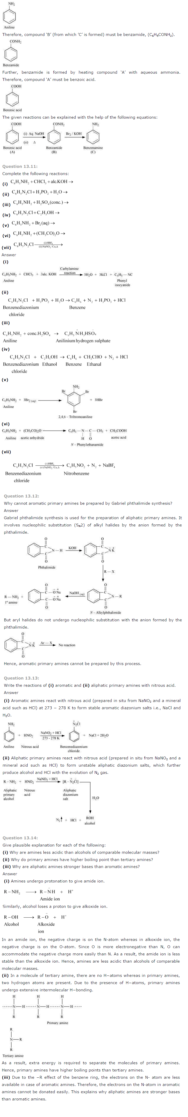 NCERT Solutions for Class 12th Chemistry Chapter 13 Amines