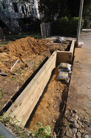 Retaining wall timbers laid south