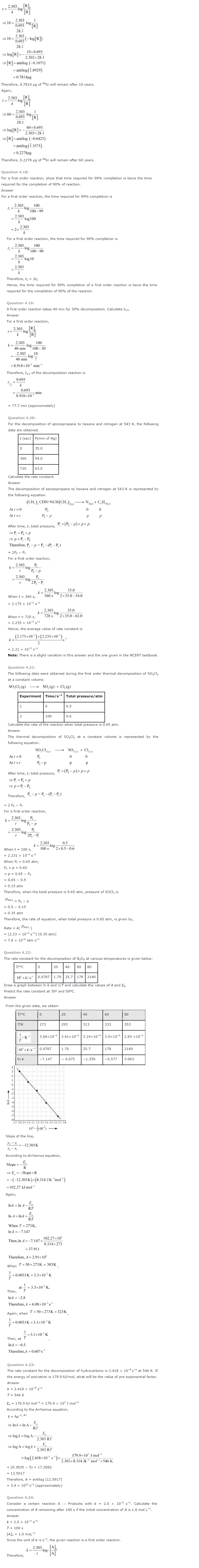 NCERT Solutions for Class 12th Chemistry Chapter 4 Chemical Kinetics Image by AglaSem