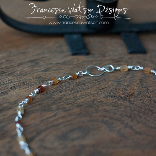 Garnet and Silver Wire-wrapped Necklace by Francesca Watson Designs