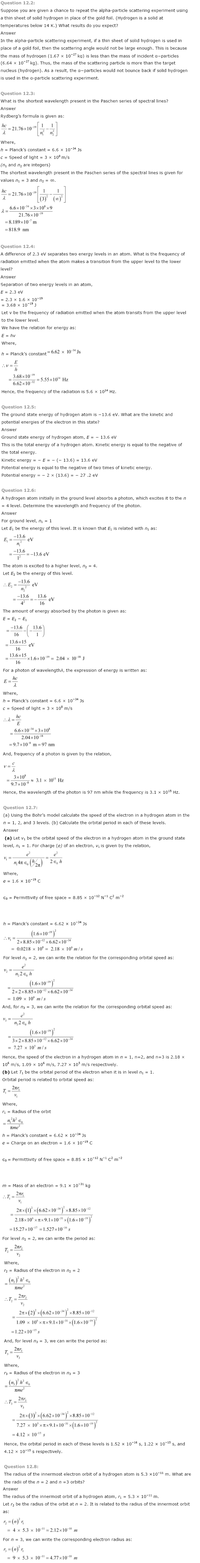 NCERT Solutions for Class 12th Physics Chapter 12   Atoms Image by AglaSem