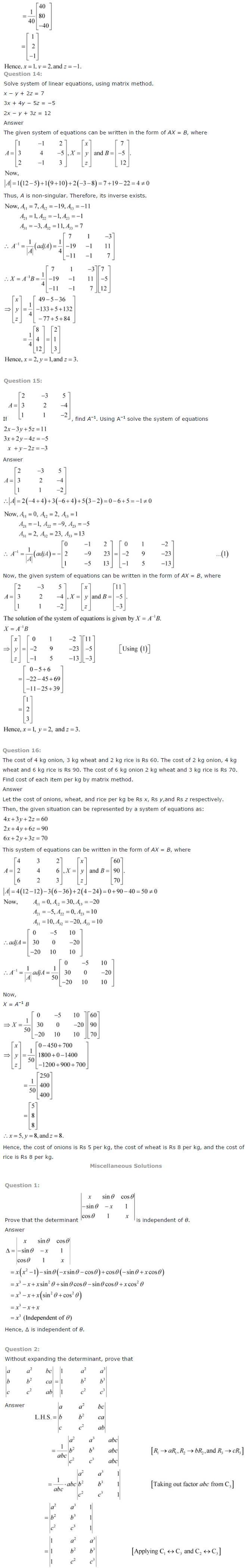 NCERT Solutions for Class 12th Maths Chapter 4   Determinants