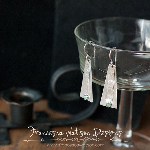 Pyramid Earrings with Aventurine by Francesca Watson Designs
