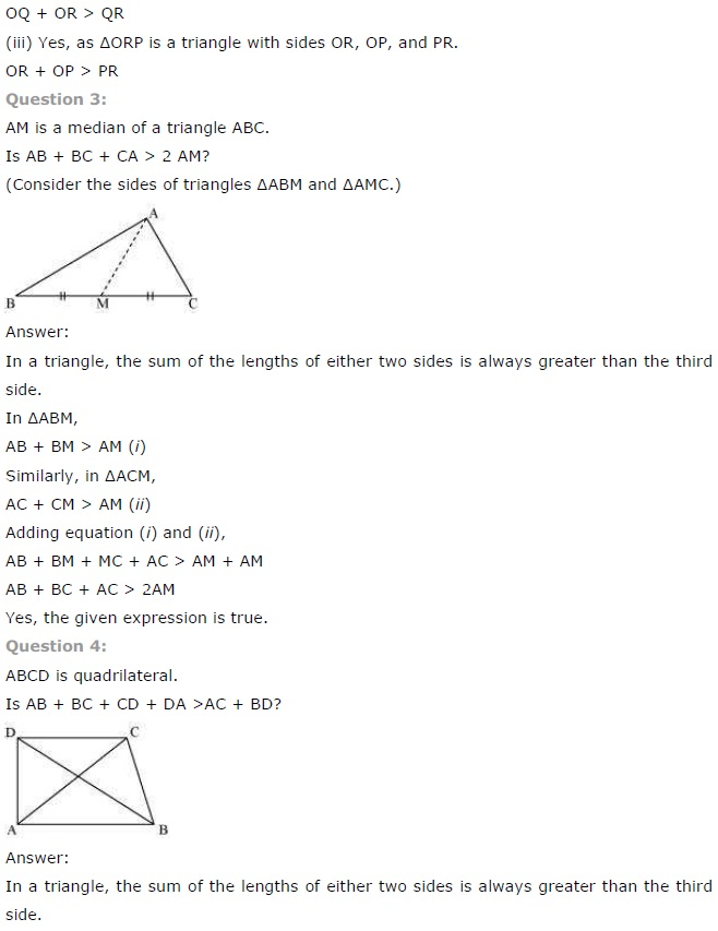 NCERT Solutions for Class 7th Maths Chapter 6   The Triangle and its Properties