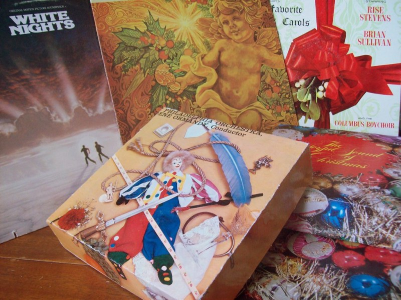 Make a pile of boxes from old record sleeves