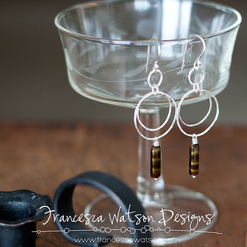 Double Hoop Earrings with Tiger Eye Glass by Francesca Watson Designs